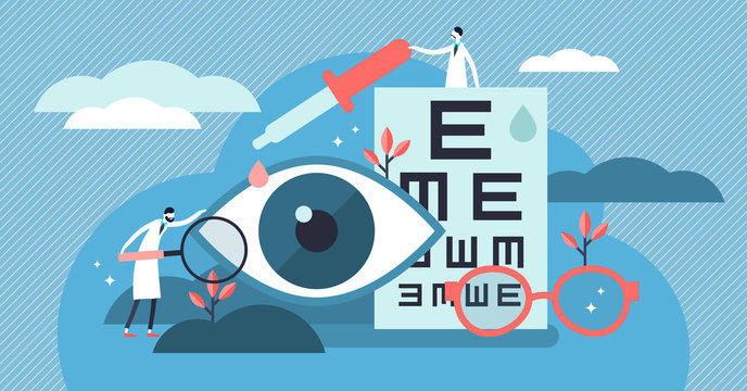 Ophthalmology vector illustration. Flat tiny eyes health persons concept.