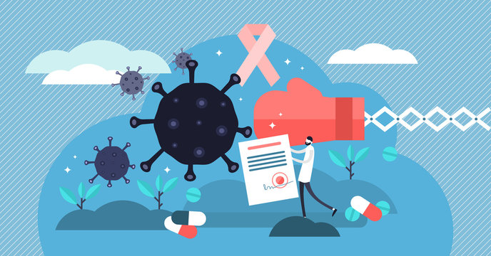 Oncology vector illustration. Tiny cancer disease research persons concept.