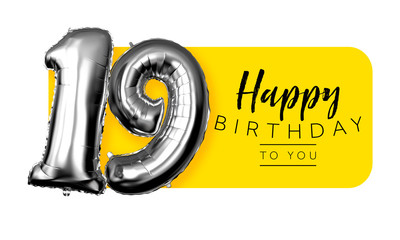 Happy 19th birthday yellow greeting background. 3D Rendering