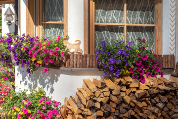 Window with Flowers and firewood, Trentino-Alto Adige, Italy, xxl+more: bartussek.xmstore