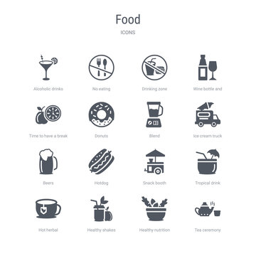 set of 16 vector icons such as tea ceremony, healthy nutrition, healthy shakes, hot herbal, tropical drink, snack booth, hotdog, beers from food concept. can be used for web, logo, ui\u002fux
