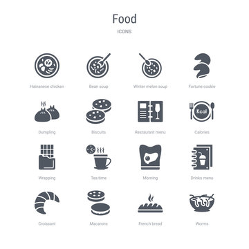 set of 16 vector icons such as worms, french bread, macarons, croissant, drinks menu, morning, tea time, wrapping from food concept. can be used for web, logo, ui\u002fux