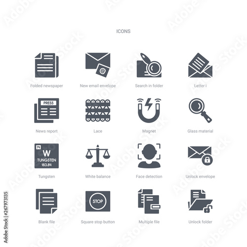 set of 16 vector icons such as unlock folder, multiple file