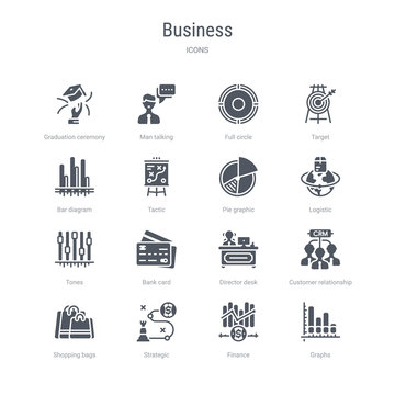 set of 16 vector icons such as graphs, finance, strategic, shopping bags, customer relationship management, director desk, bank card, tones from business concept. can be used for web, logo,
