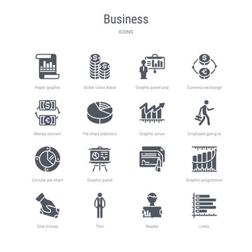 set of 16 vector icons such as lines, reader, thin, give money, graphic progression,  , graphic panel, circular pie chart from business concept. can be used for web, logo, ui\u002fux