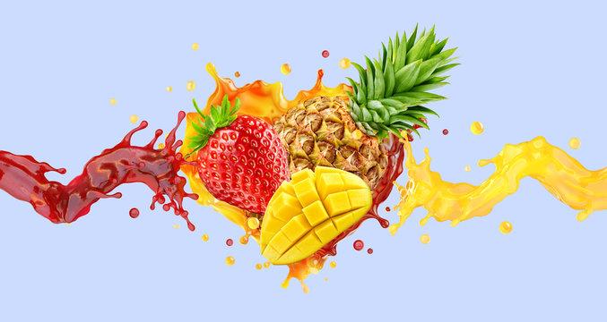 Healthy strawberry, pineapple, mango fruit juices or smoothie mix liquid splashes. Fruits juice mix splashing together- mango, pineapple, strawberry juice smoothie colorful splashes. 3D