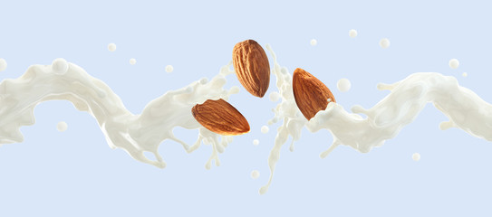 Fresh natural almond milk splash swirl with almonds isolated. Healthy splashing almonds milk or milkshake, almond seeds, yogurt splash. Organic vegan liquid splash dairy commercial. 3D