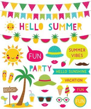 Hello summer beach decoration set