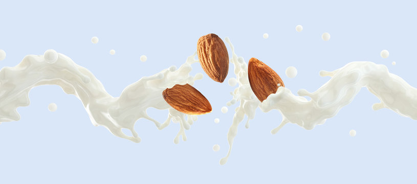 Fresh natural almond milk splash swirl with almonds isolated. Healthy splashing almonds milk or milkshake, almond seeds, yogurt splash. Organic vegan liquid splash dairy commercial.  3D