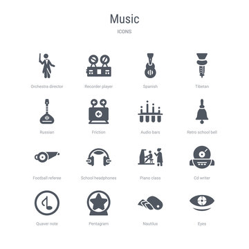 set of 16 vector icons such as eyes, nautilus, pentagram, quaver note, cd writer, piano class, school headphones, football referee whistle from music concept. can be used for web, logo, ui\u002fux