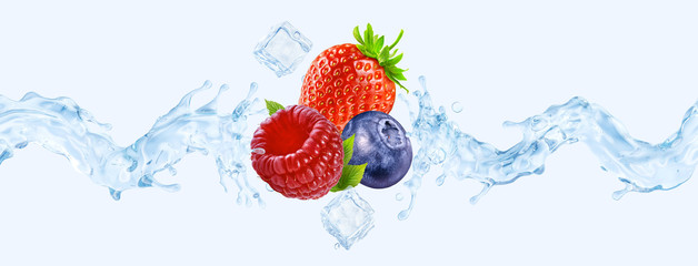 Fresh cold pure strawberry, blueberry, raspberry flavored water wave splash. Clean infused water wave splash with berries. Healthy flavored drink splash ad concept with ice cubes. 3D Wall mural