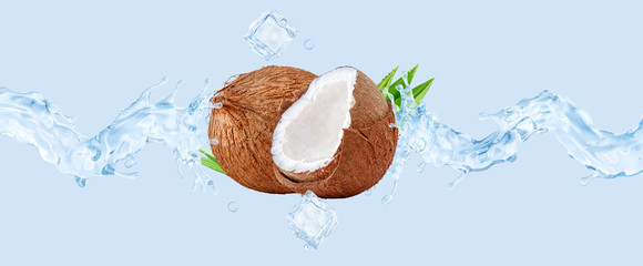 Fresh cold pure coconut water with coconut and waves splash. Coconut water or cocktail wave swirls. Healthy flavored detox drink splash banner concept with coconut water, ice cubes. 3D
