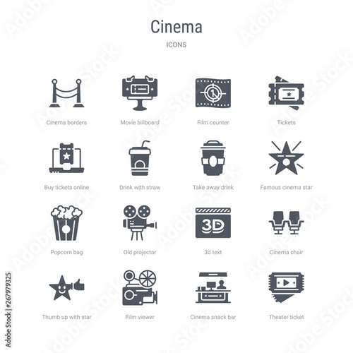 set of 16 vector icons such as theater ticket, cinema snack bar