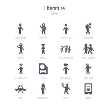 set of 16 vector icons such as ebook, yorick, shakespeare, ufo, robin hood, don quixote, love, long john silver from literature concept. can be used for web, logo, ui\u002fux