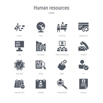set of 16 vector icons such as resume, recruitment, profiles, appointment, hi, skills, hiring, approved from human resources concept. can be used for web, logo, ui\u002fux