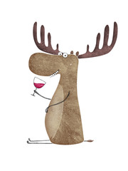 Cute moose with glass of wine