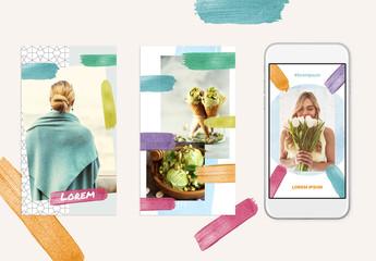 Colorful Glitter Brush Stroke Social Post Layout