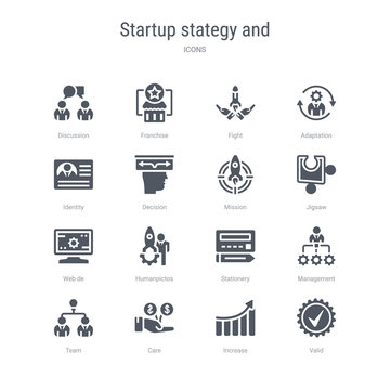 set of 16 vector icons such as valid, increase, care, team, management, stationery, humanpictos, web de from startup stategy and concept. can be used for web, logo, ui\u002fux