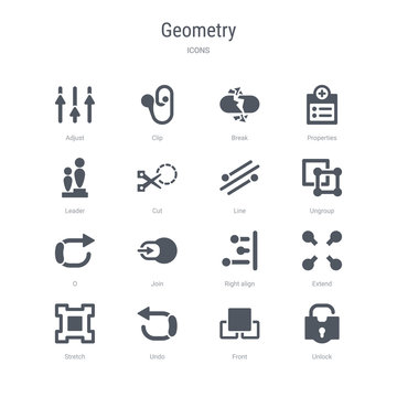 set of 16 vector icons such as unlock, front, undo, stretch, extend, right align, join, o from geometry concept. can be used for web, logo, ui\u002fux