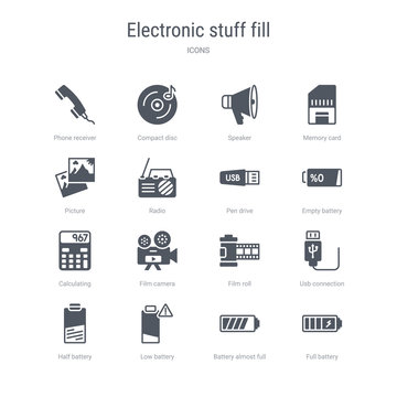 set of 16 vector icons such as full battery, battery almost full, low battery, half usb connection, film roll, film camera, calculating from electronic stuff fill concept. can be used for web, logo,