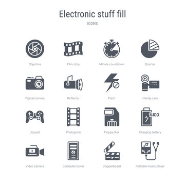 set of 16 vector icons such as portable music player, clapperboard, computer tower, video camera, charging battery, floppy disk, photogram, joypad from electronic stuff fill concept. can be used for