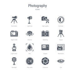 set of 16 vector icons such as eye, exposure, play video, spotlight, resolution, aspect, blur, light meter from photography concept. can be used for web, logo, ui\u002fux