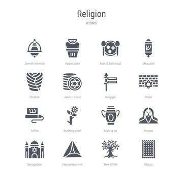 set of 16 vector icons such as matzo, tree of life, hamantaschen, synagogue, moses, manna jar, budding staff, tefilin from religion concept. can be used for web, logo, ui\u002fux