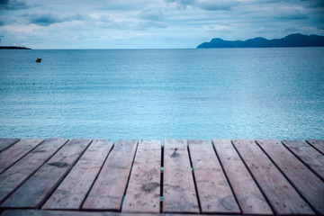 Wooden pier in cloudy morning. Rest, silent, Melancholy concept photo Wall mural