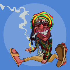 cartoon funny man rastaman sits on the floor and smokes