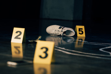 selective focus of shoe, dollar banknote, chalk outline and evidence markers at crime scene