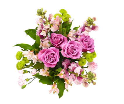 Overhead shot of a beautiful floral arrangement for Mothers Day or Valentines