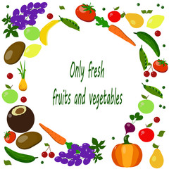 grapes, lemon, apple, cherry, cucumber, tomato, potato, pea, pumpkin, onion, coconut, pear, carrot, leaves on a white background