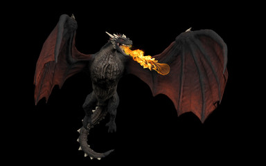 Dragon throwing fire ball while haning in air black background isolated 3d illustration