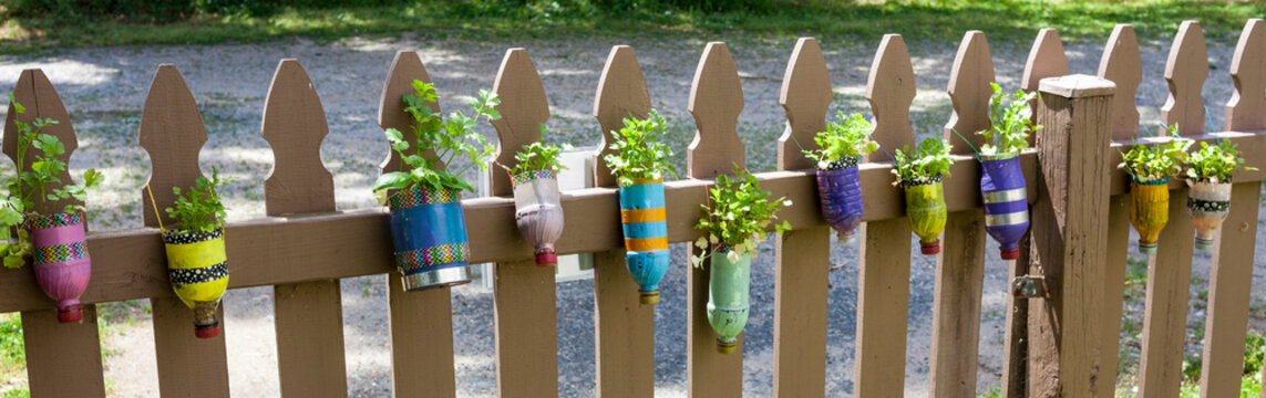 Childrens decorated plastic bottle planters with spring plants.