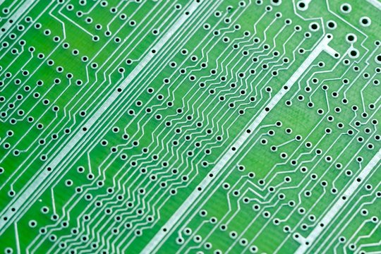 Empty circuit board, pcb printed technology,  macro abstract.