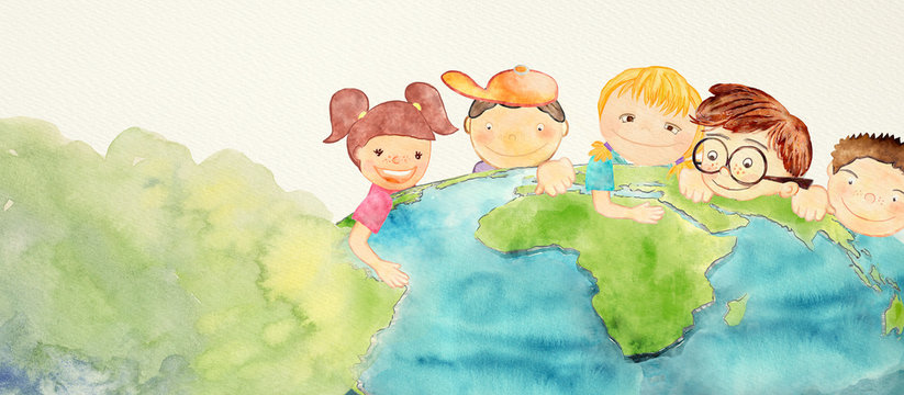 Earth day. Education concept. Watercolor.