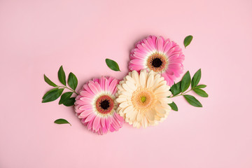 Photo sur Plexiglas Gerbera Flat lay composition with beautiful bright gerbera flowers on color background