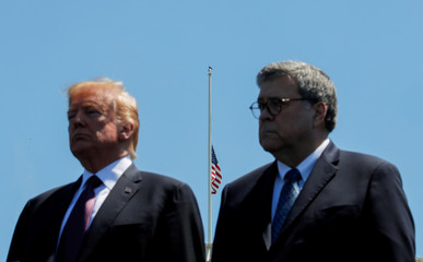 U.S. President Trump and Attorney General Barr attend National Peace Officers Memorial Service on Capitol Hill in Washington