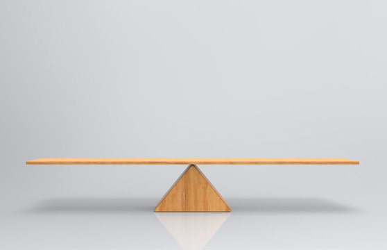 3d rendering. an empty blank wood balance scale on gray background.