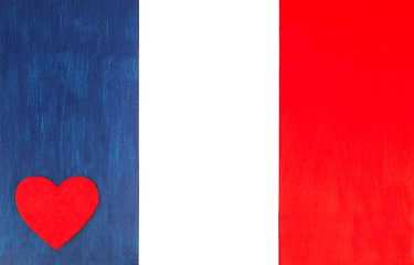 French flag with love heart - background with flag colors of France, for French culture & lifestyle, with space for text / design.