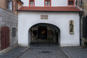 Fototapete - The so called Stone Gate, as the Plate above the Gate indicates  - Zagreb, Croatia