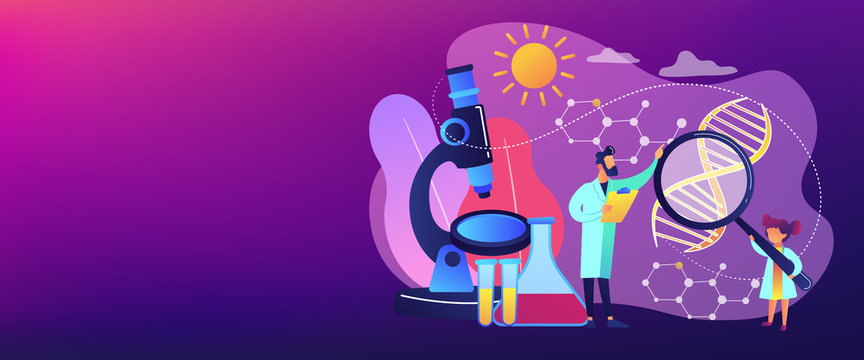 A girl with magnifier and scientist carry out an experiment, tiny people. Kids Science camp, young scientists lessons, kids laboratory tests concept. Header or footer banner template with copy space.