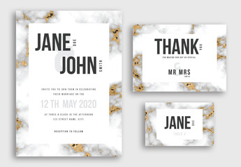 Wedding Suite Layout with Marble and Gold Glitter Backgrounds