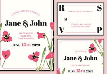 Wedding Suite Layout with Floral Graphic Elements