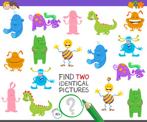 find two identical monsters task for kids