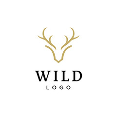 deer antler head vector logo design