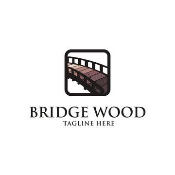 vintage bridge wood emblem logo