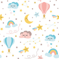 Seamless baby pattern sky elements moon cloud rainbow hot balloon stars Kids texture Vector