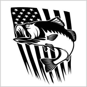 Bass fishing on usa flag vector illustration