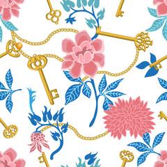 Floral print with golden keys.